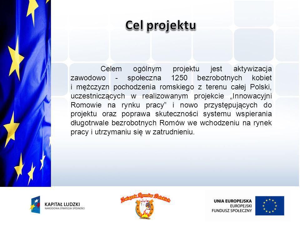 Celem ogólnym projektu jest aktywizacja zawodowo - społeczna 1250 bezrobotnych kobiet i mężczyzn pochodzenia romskiego z terenu całej Polski, uczestni