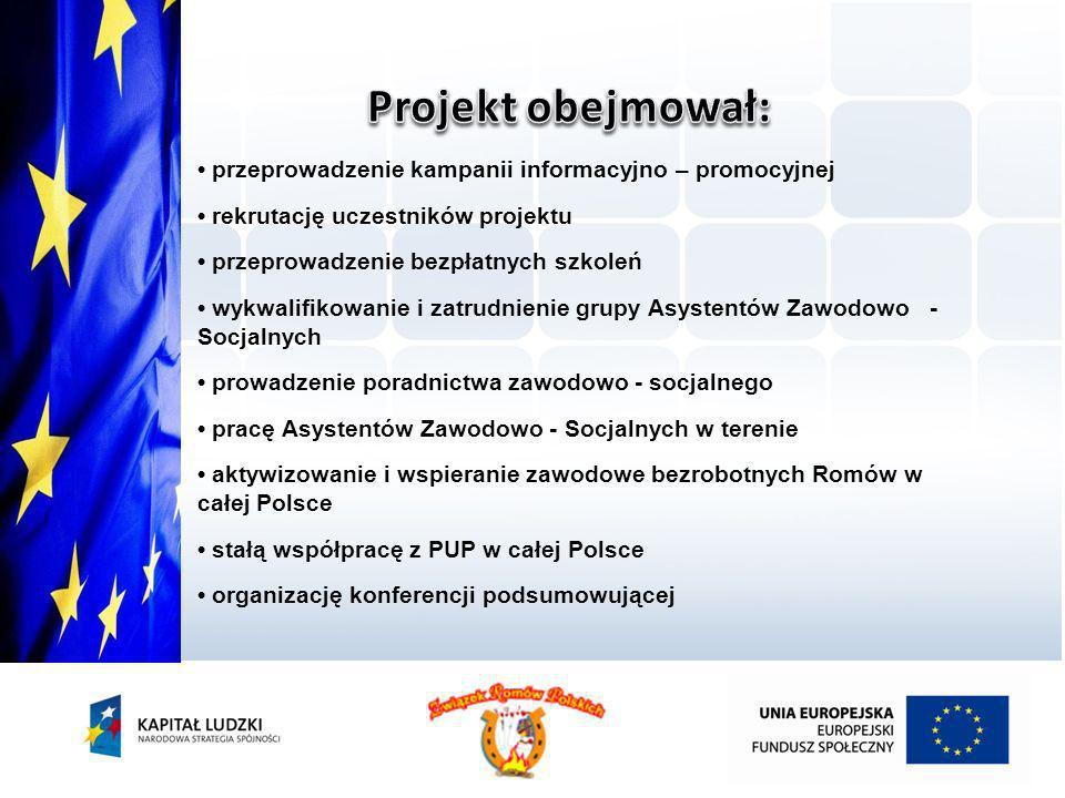 przeprowadzenie kampanii informacyjno – promocyjnej rekrutację uczestników projektu przeprowadzenie bezpłatnych szkoleń wykwalifikowanie i zatrudnieni