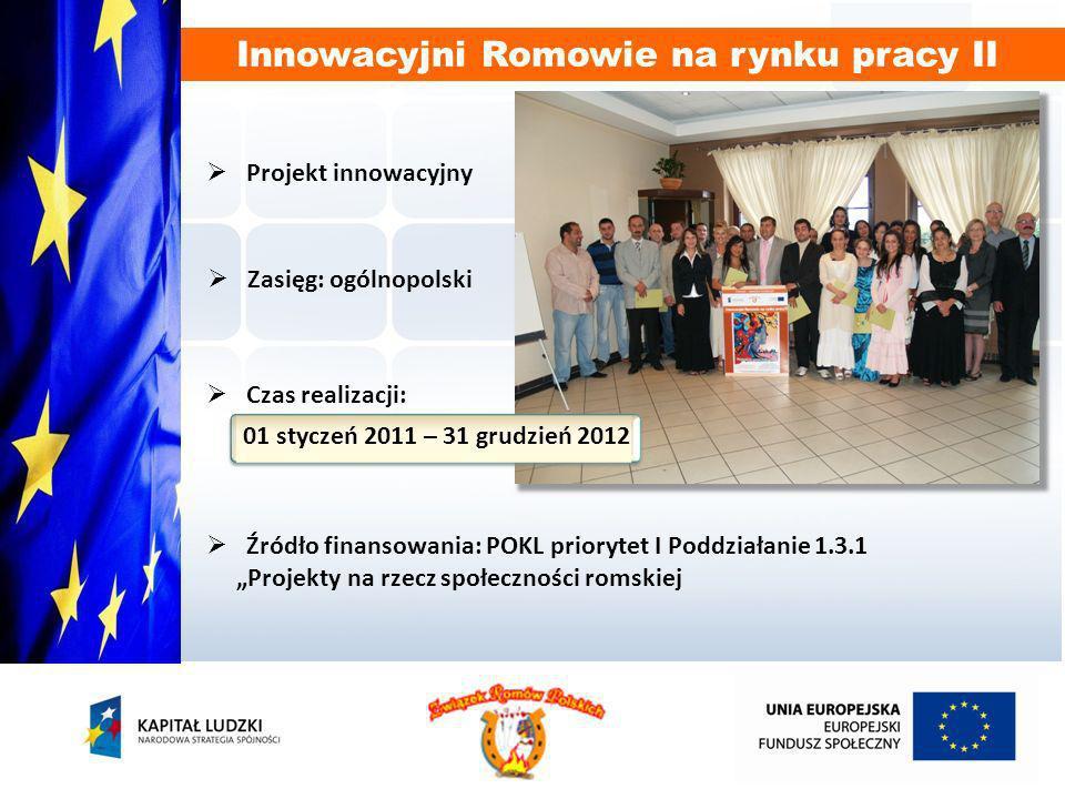 aktywizowanie i wspieranie zawodowe 600 bezrobotnych Romów w wieku produkcyjnym (330 K i 270 M), którzy przystąpią do projektu dzięki nowym, przygotowanym do wykonywania obowiązków AZ-S osobom; dalsza aktywizacja i wspieranie zawodowe 650 bezrobotnych Romów w wieku produkcyjnym (358 K i 292 M), którzy przystąpili do projektu Innowacyjni Romowie na rynku pracy dzięki pracy obecnie zatrudnionych AZ-S; zmniejszenie odsetka bezrobotnych osób pochodzenia romskiego z terenu całej Polski poprzez działania AZS i uzyskanie zatrudnienia przez 100 beneficjentów do końca 2012 roku; wyszukiwanie dostępnych szkoleń i kursów odpowiadających preferencjom beneficjentów i zorganizowanie kursów dla 150 osób; zwiększenie uczestnictwa beneficjentów w życiu społecznym na terenie objętym projektem; zmniejszenie bierności i wzrost zaufania Romów poprzez usługi świadczone przez AZS.