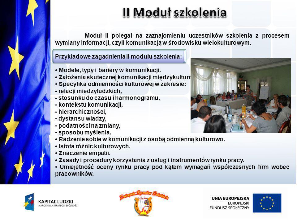 Moduł II polegał na zaznajomieniu uczestników szkolenia z procesem wymiany informacji, czyli komunikacją w środowisku wielokulturowym. Przykładowe zag