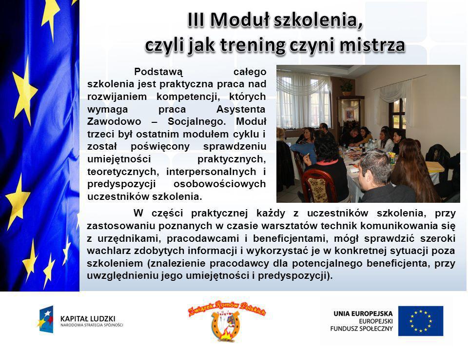 W części praktycznej każdy z uczestników szkolenia, przy zastosowaniu poznanych w czasie warsztatów technik komunikowania się z urzędnikami, pracodawc
