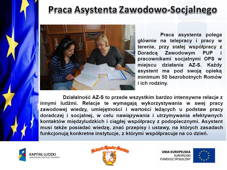 Praca asystenta polega głównie na telepracy i pracy w terenie, przy stałej współpracy z Doradcą Zawodowym PUP i pracownikami socjalnymi OPS w miejscu