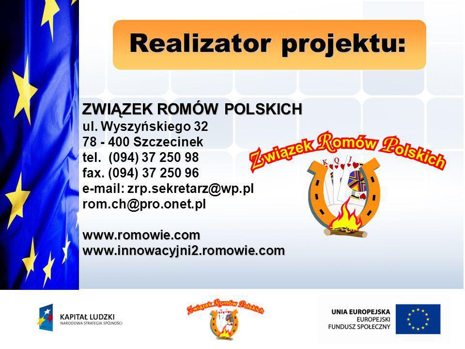 przeprowadzenie kampanii informacyjno – promocyjnej rekrutację uczestników projektu przeprowadzenie bezpłatnych szkoleń wykwalifikowanie i zatrudnienie grupy Asystentów Zawodowo - Socjalnych prowadzenie poradnictwa zawodowo - socjalnego pracę Asystentów Zawodowo - Socjalnych w terenie aktywizowanie i wspieranie zawodowe bezrobotnych Romów w całej Polsce stałą współpracę z PUP w całej Polsce organizację konferencji podsumowującej