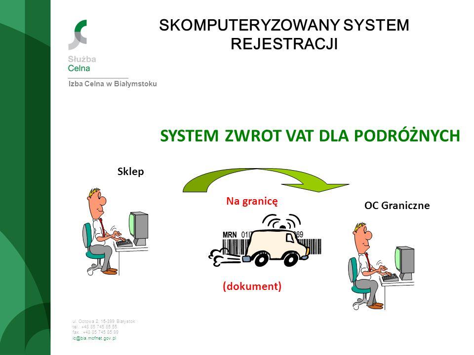 ul. Octowa 2, 15-399 Białystok tel.: +48 85 745 85 55 fax. :+48 85 745 85 99 ic@bia.mofnet.gov.pl SKOMPUTERYZOWANY SYSTEM REJESTRACJI SYSTEM ZWROT VAT