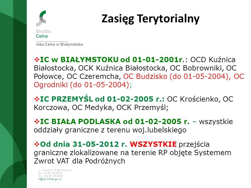 ul. Octowa 2, 15-399 Białystok tel.: +48 85 745 85 55 fax. :+48 85 745 85 99 ic@bia.mofnet.gov.pl Zasięg Terytorialny IC w BIAŁYMSTOKU od 01-01-2001r.