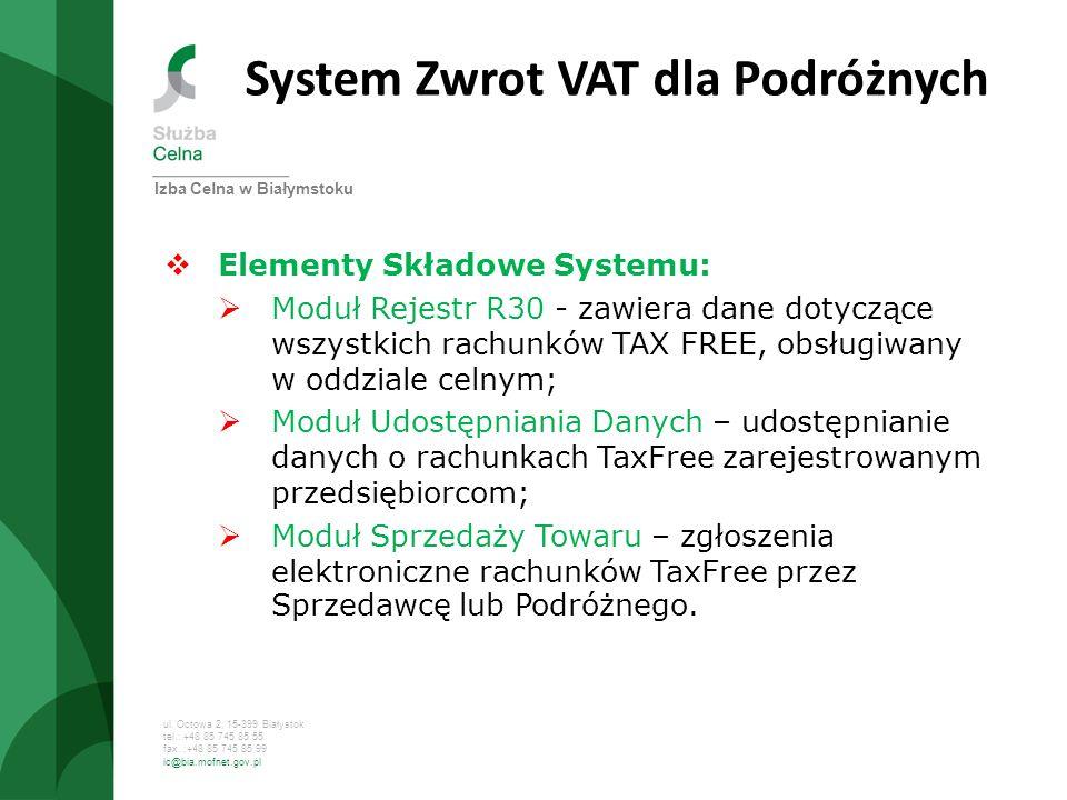 ul. Octowa 2, 15-399 Białystok tel.: +48 85 745 85 55 fax. :+48 85 745 85 99 ic@bia.mofnet.gov.pl System Zwrot VAT dla Podróżnych Elementy Składowe Sy
