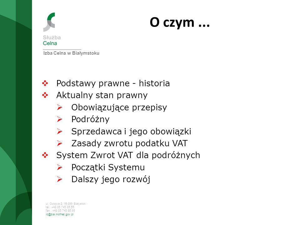 ul. Octowa 2, 15-399 Białystok tel.: +48 85 745 85 55 fax. :+48 85 745 85 99 ic@bia.mofnet.gov.pl Izba Celna w Białymstoku O czym... Podstawy prawne -