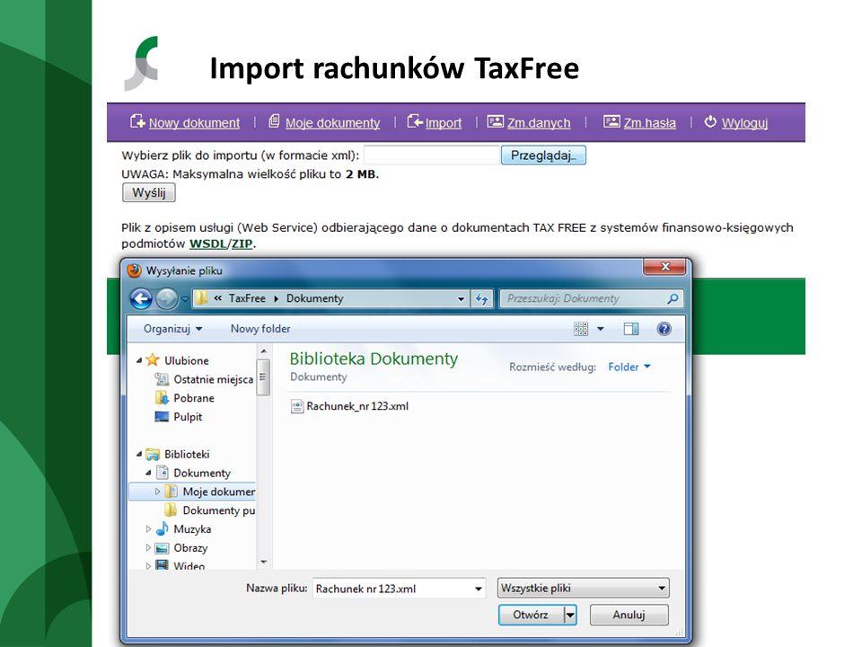 Import rachunków TaxFree