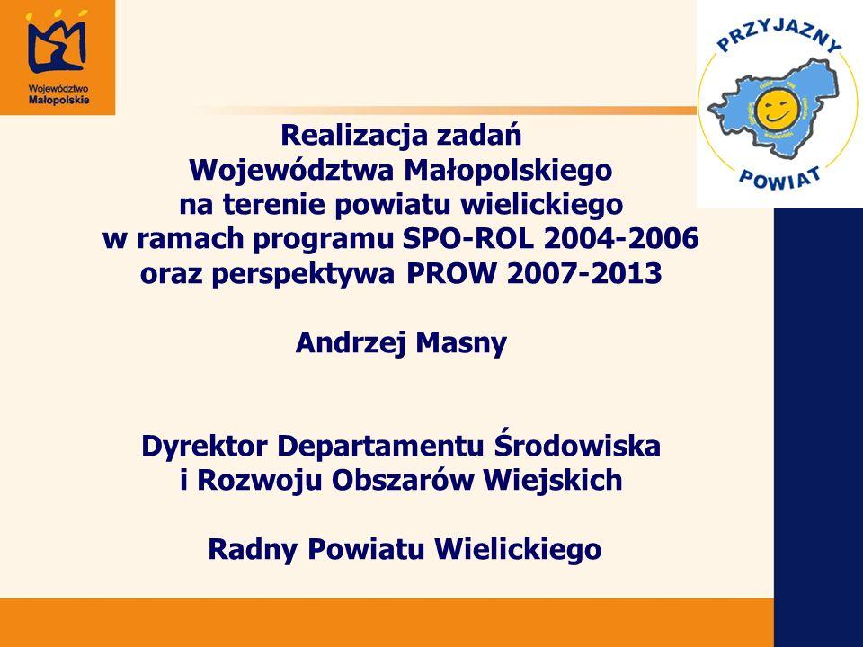 12 Projekty zrealizowane w ramach działania 2.3 z terenu powiatu wielickiego Gmina Niepołomice Zagospodarowanie byłych stawów benedyktyńskich w centrum wsi Zakrzowiec na cele rekreacyjne; kwota dofinansowania – 203 278 tys.