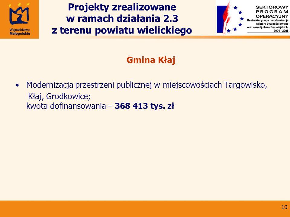 10 Projekty zrealizowane w ramach działania 2.3 z terenu powiatu wielickiego Gmina Kłaj Modernizacja przestrzeni publicznej w miejscowościach Targowis