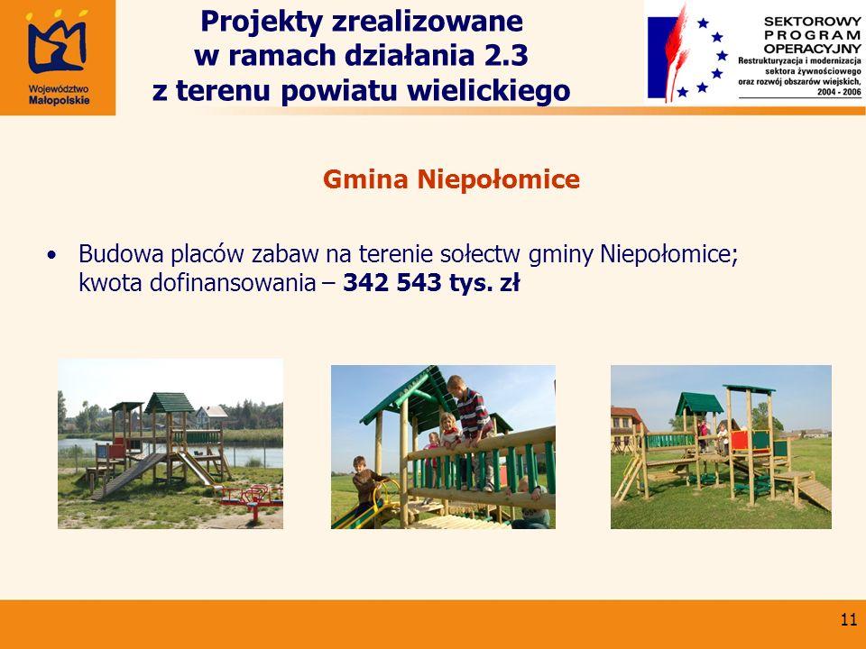 11 Projekty zrealizowane w ramach działania 2.3 z terenu powiatu wielickiego Gmina Niepołomice Budowa placów zabaw na terenie sołectw gminy Niepołomic