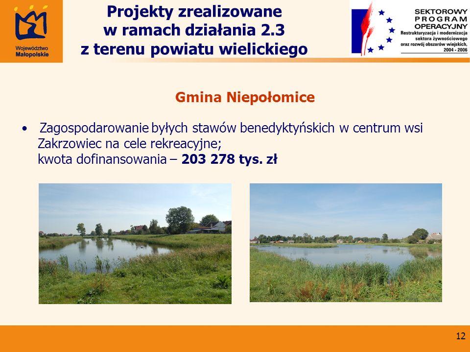 12 Projekty zrealizowane w ramach działania 2.3 z terenu powiatu wielickiego Gmina Niepołomice Zagospodarowanie byłych stawów benedyktyńskich w centru