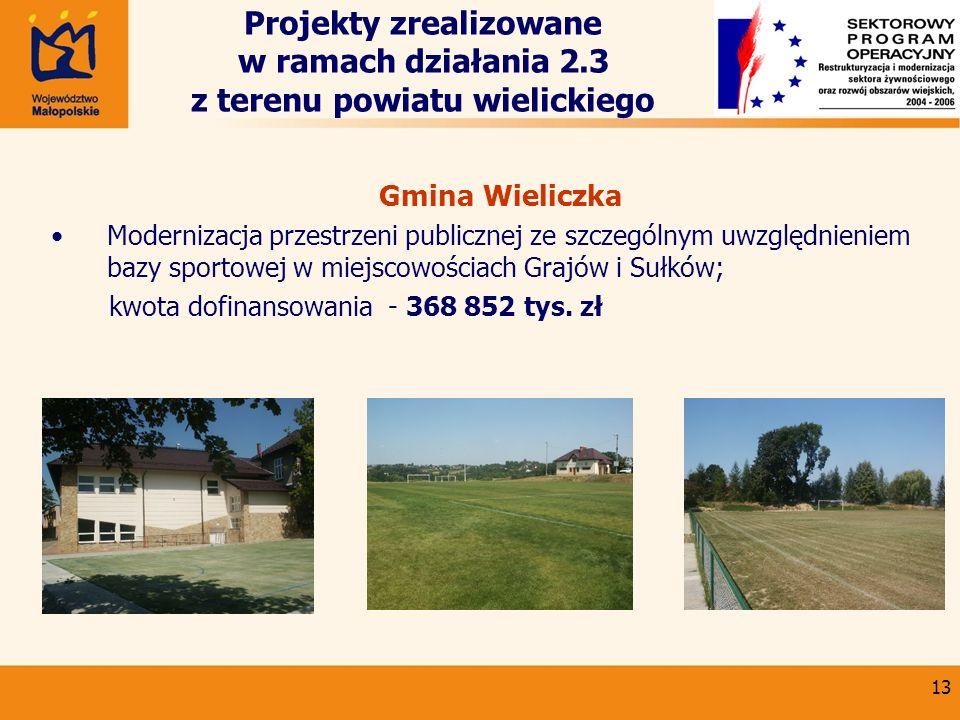 13 Gmina Wieliczka Modernizacja przestrzeni publicznej ze szczególnym uwzględnieniem bazy sportowej w miejscowościach Grajów i Sułków; kwota dofinanso