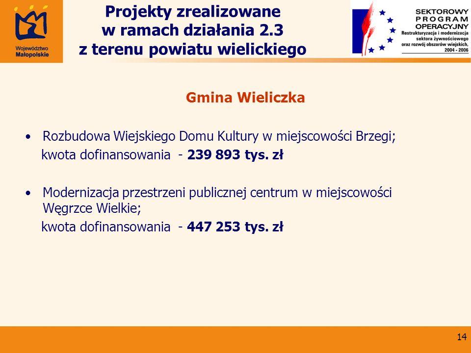 14 Projekty zrealizowane w ramach działania 2.3 z terenu powiatu wielickiego Gmina Wieliczka Rozbudowa Wiejskiego Domu Kultury w miejscowości Brzegi;