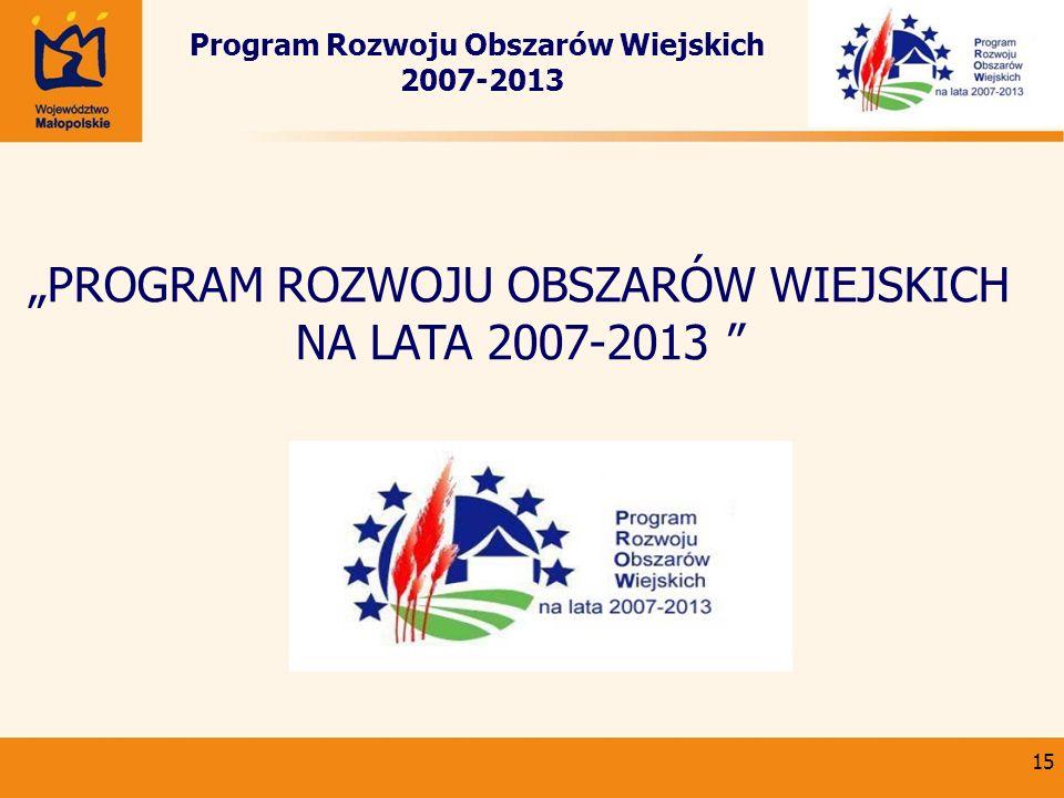 15 Program Rozwoju Obszarów Wiejskich 2007-2013 PROGRAM ROZWOJU OBSZARÓW WIEJSKICH NA LATA 2007-2013