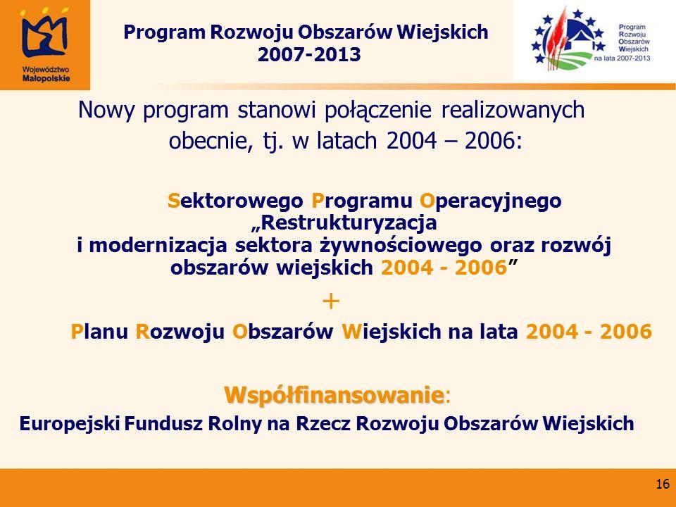16 Program Rozwoju Obszarów Wiejskich 2007-2013 Nowy program stanowi połączenie realizowanych obecnie, tj. w latach 2004 – 2006: Sektorowego Programu