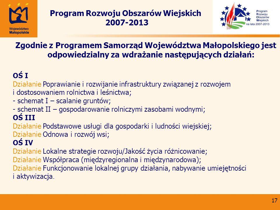 17 Program Rozwoju Obszarów Wiejskich 2007-2013 Zgodnie z Programem Samorząd Województwa Małopolskiego jest odpowiedzialny za wdrażanie następujących
