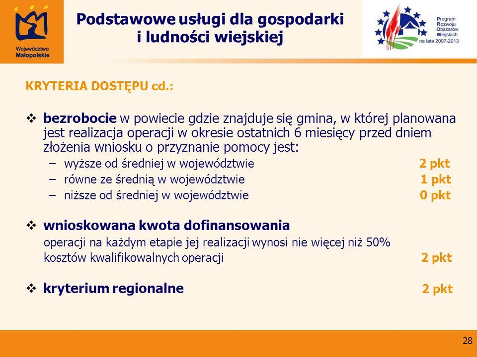 28 Podstawowe usługi dla gospodarki i ludności wiejskiej KRYTERIA DOSTĘPU cd.: bezrobocie w powiecie gdzie znajduje się gmina, w której planowana jest
