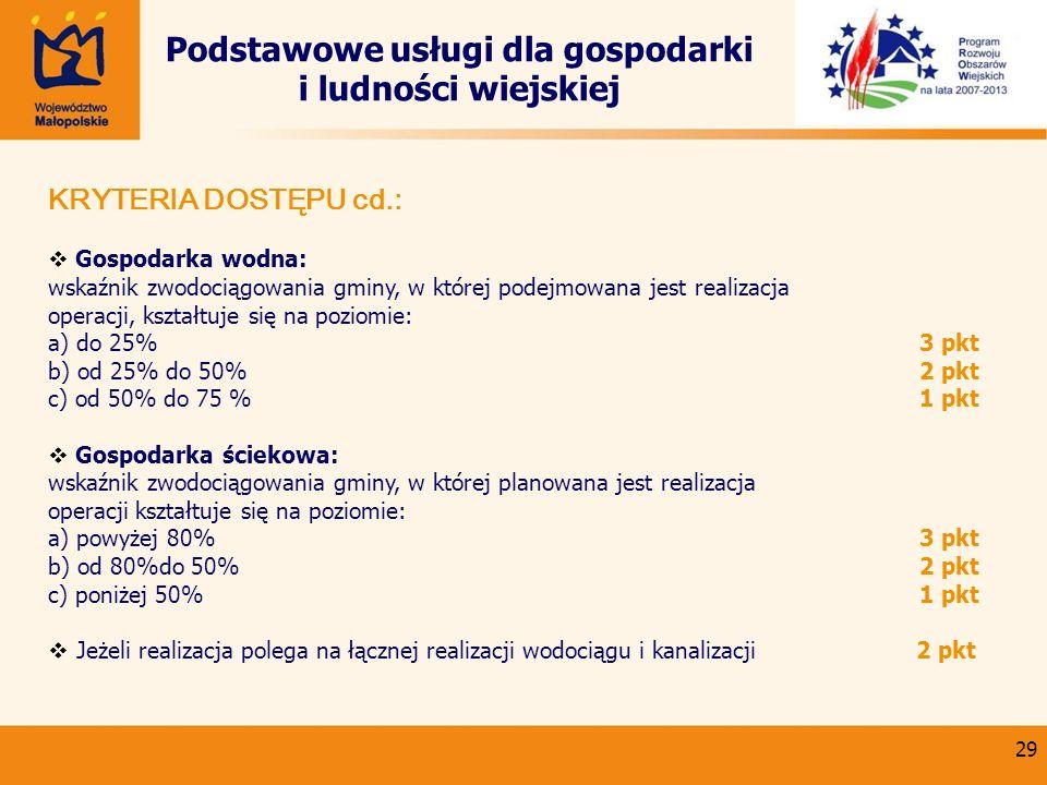 29 Podstawowe usługi dla gospodarki i ludności wiejskiej KRYTERIA DOSTĘPU cd.: Gospodarka wodna: wskaźnik zwodociągowania gminy, w której podejmowana