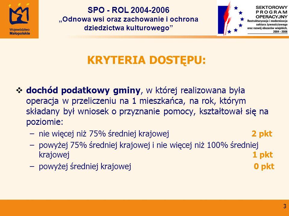 3 KRYTERIA DOSTĘPU: dochód podatkowy gminy, w której realizowana była operacja w przeliczeniu na 1 mieszkańca, na rok, którym składany był wniosek o p