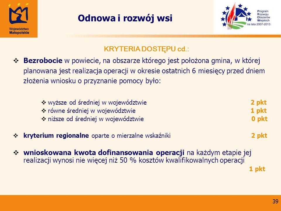 39 Odnowa i rozwój wsi KRYTERIA DOSTĘPU cd.: Bezrobocie w powiecie, na obszarze którego jest położona gmina, w której planowana jest realizacja operac