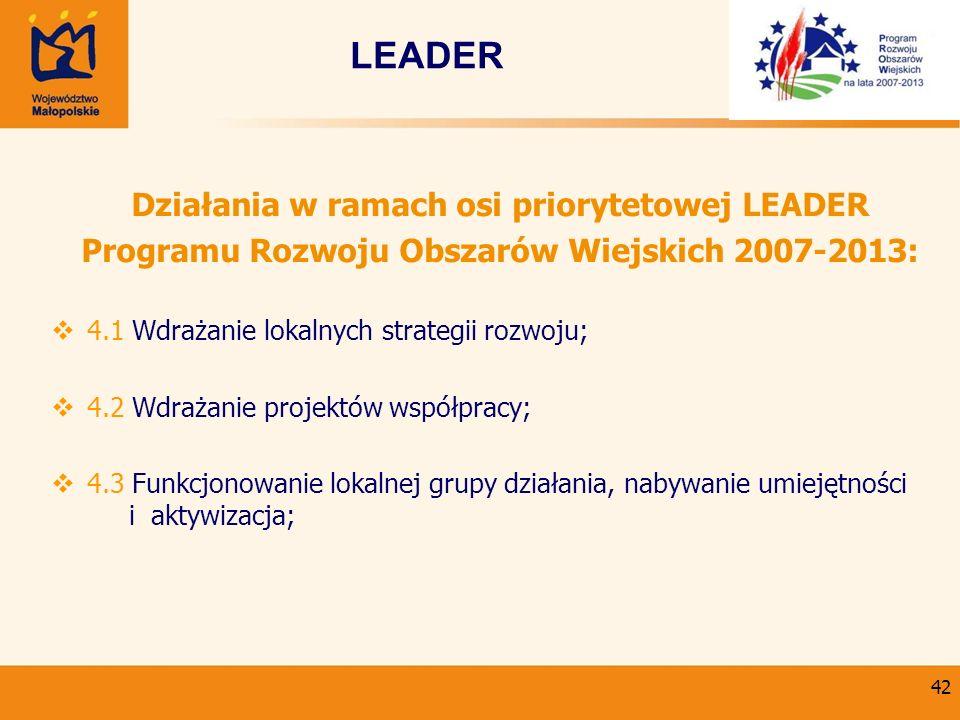 42 Działania w ramach osi priorytetowej LEADER Programu Rozwoju Obszarów Wiejskich 2007-2013: 4.1 Wdrażanie lokalnych strategii rozwoju; 4.2 Wdrażanie