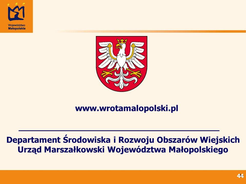 44 Departament Środowiska i Rozwoju Obszarów Wiejskich Urząd Marszałkowski Województwa Małopolskiego www.wrotamalopolski.pl