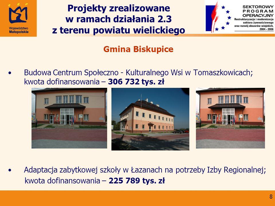 9 Projekty zrealizowane w ramach działania 2.3 z terenu powiatu wielickiego Gmina Gdów Utworzenie Izby Regionalnej w Stryszowej ; kwota dofinansowania – 12 886 tys.