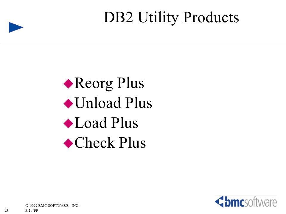 13 © 1999 BMC SOFTWARE, INC. 3/17/99 DB2 Utility Products u Reorg Plus u Unload Plus u Load Plus u Check Plus