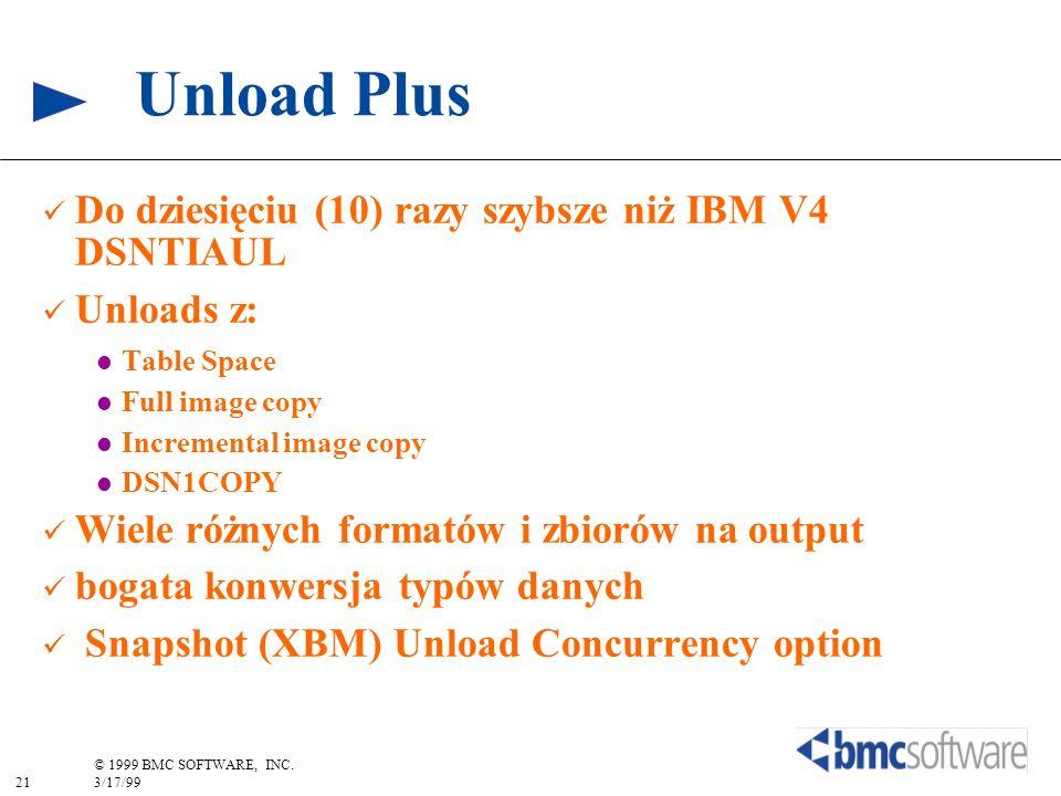 21 © 1999 BMC SOFTWARE, INC. 3/17/99 Unload Plus Do dziesięciu (10) razy szybsze niż IBM V4 DSNTIAUL Unloads z: Table Space Full image copy Incrementa