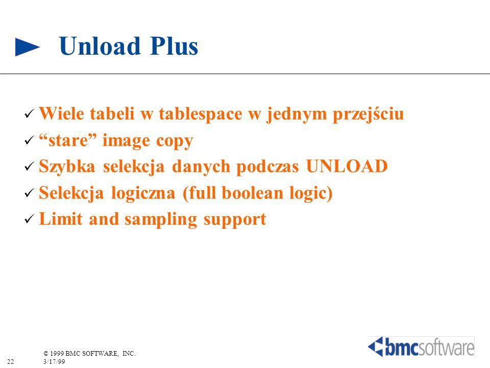 22 © 1999 BMC SOFTWARE, INC. 3/17/99 Unload Plus Wiele tabeli w tablespace w jednym przejściu stare image copy Szybka selekcja danych podczas UNLOAD S
