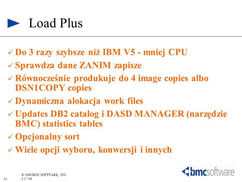 24 © 1999 BMC SOFTWARE, INC. 3/17/99 Do 3 razy szybsze niż IBM V5 - mniej CPU Sprawdza dane ZANIM zapisze Równocześnie produkuje do 4 image copies alb