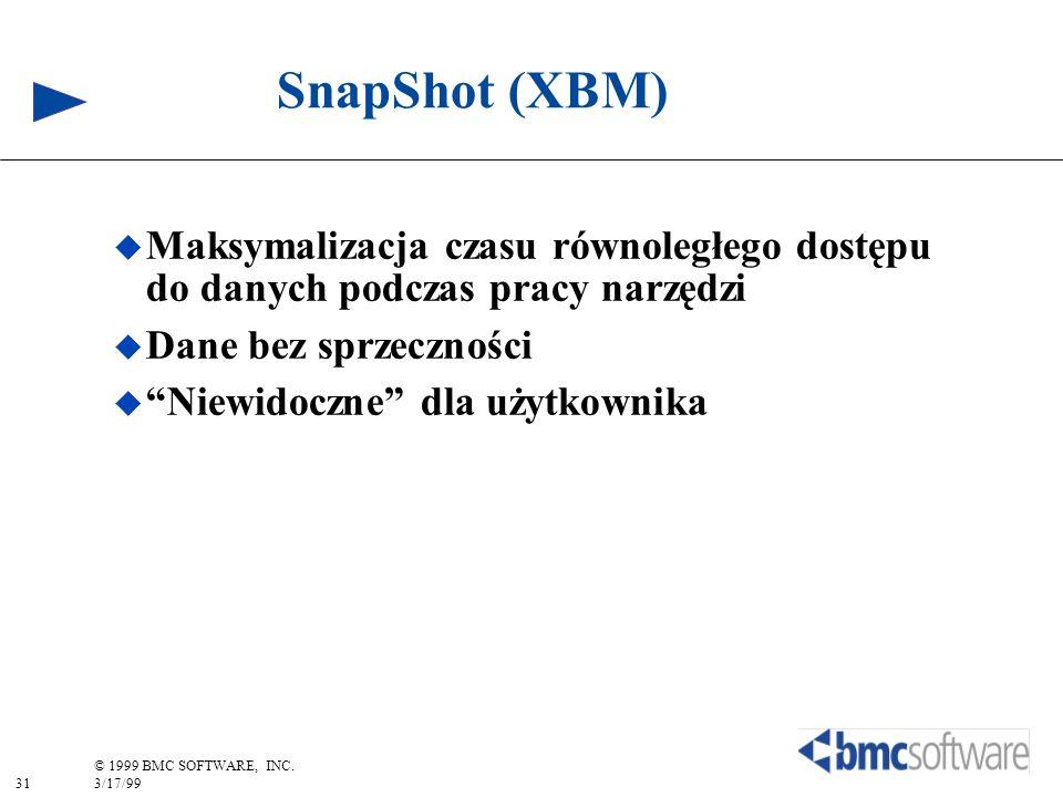 31 © 1999 BMC SOFTWARE, INC. 3/17/99 SnapShot (XBM) Maksymalizacja czasu równoległego dostępu do danych podczas pracy narzędzi Dane bez sprzeczności N