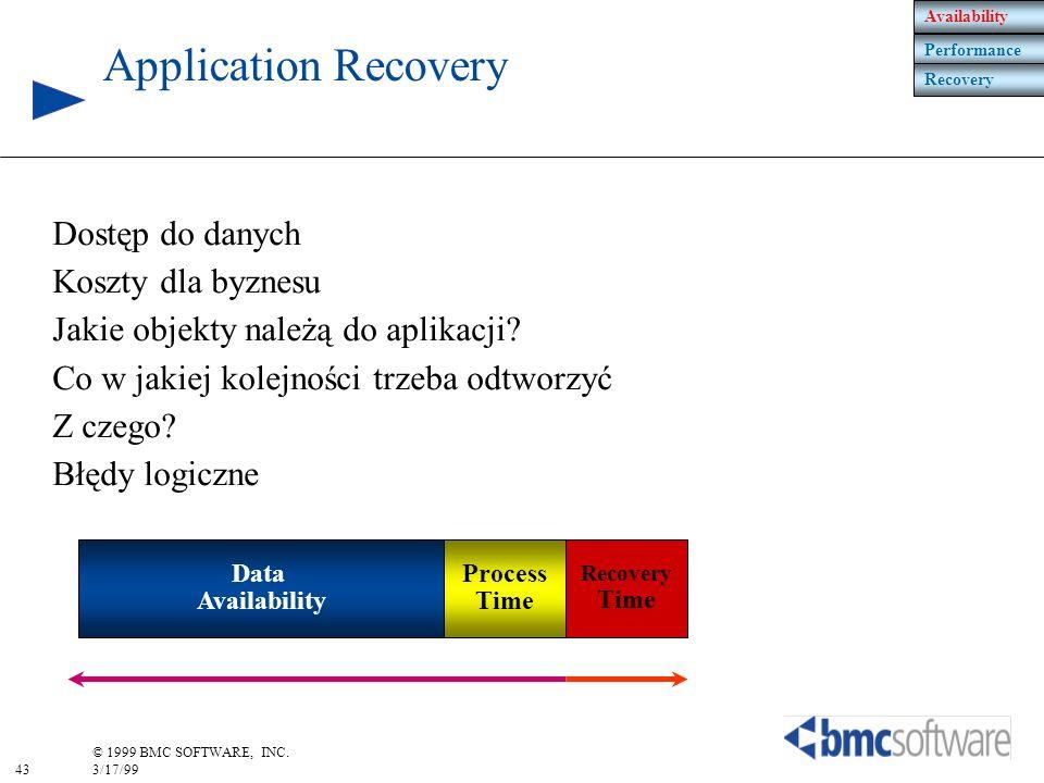 43 © 1999 BMC SOFTWARE, INC. 3/17/99 Dostęp do danych Koszty dla byznesu Jakie objekty należą do aplikacji? Co w jakiej kolejności trzeba odtworzyć Z