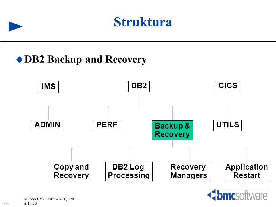 44 © 1999 BMC SOFTWARE, INC. 3/17/99 Struktura DB2 Backup and Recovery IMS CICSDB2 ADMINPERF Backup & Recovery UTILS Copy and Recovery Managers DB2 Lo