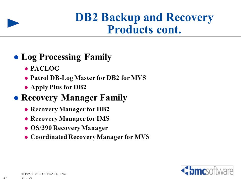 47 © 1999 BMC SOFTWARE, INC. 3/17/99 DB2 Backup and Recovery Products cont. l Log Processing Family l PACLOG l Patrol DB-Log Master for DB2 for MVS l