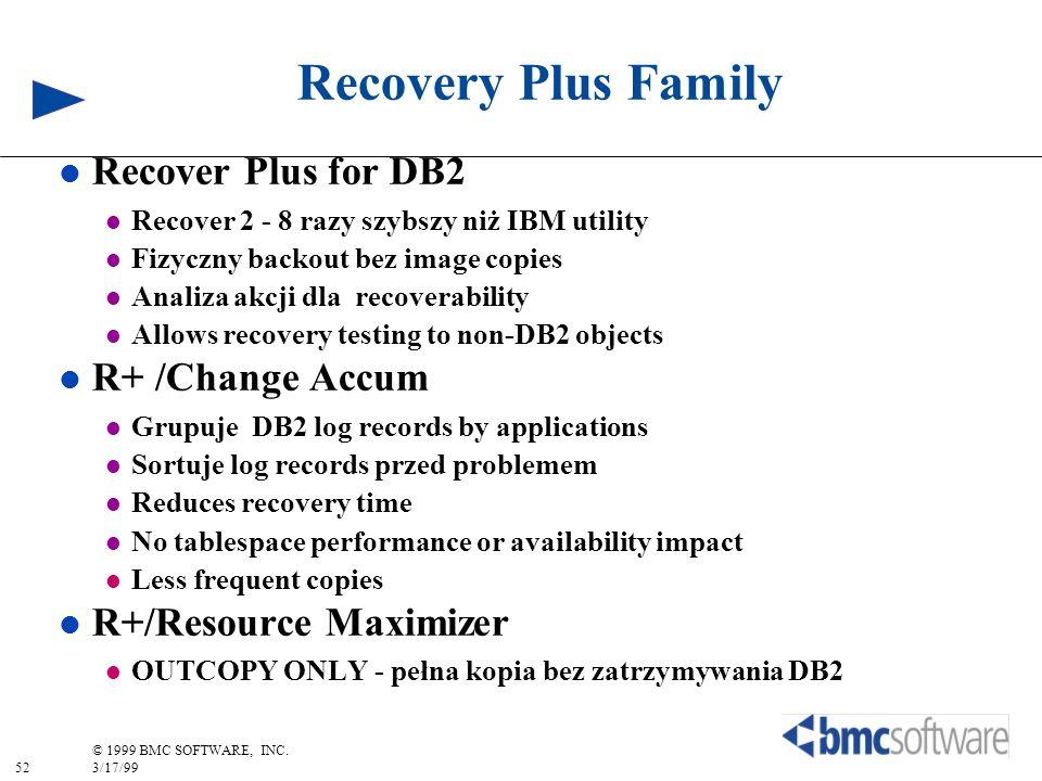 52 © 1999 BMC SOFTWARE, INC. 3/17/99 Recovery Plus Family l Recover Plus for DB2 l Recover 2 - 8 razy szybszy niż IBM utility l Fizyczny backout bez i