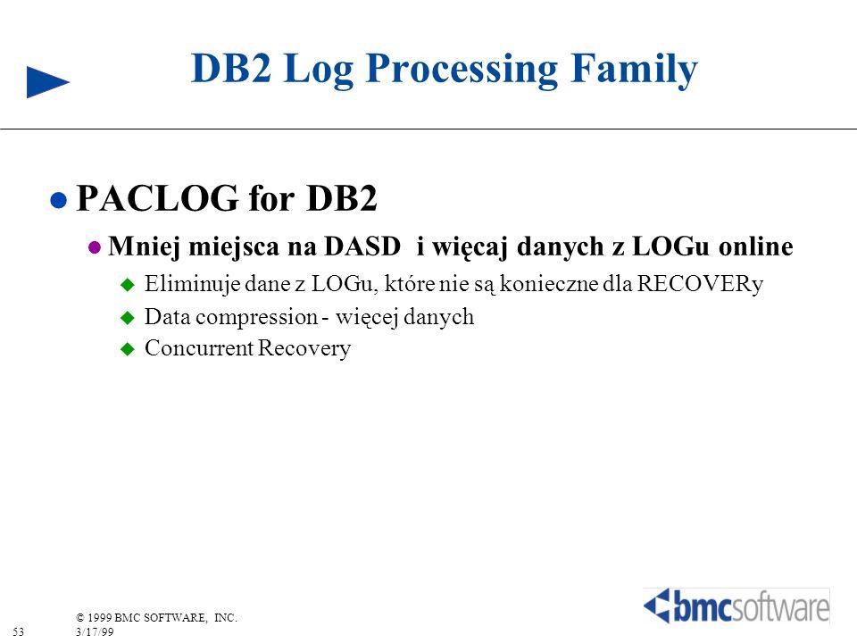 53 © 1999 BMC SOFTWARE, INC. 3/17/99 DB2 Log Processing Family l PACLOG for DB2 l Mniej miejsca na DASD i więcaj danych z LOGu online Eliminuje dane z
