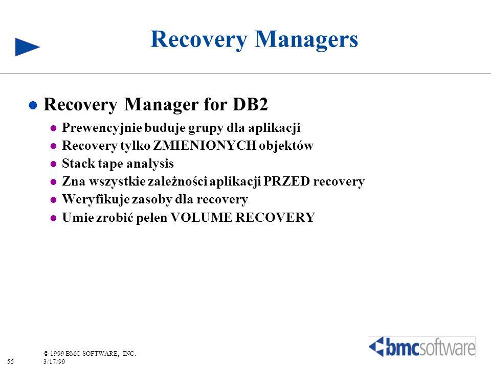 55 © 1999 BMC SOFTWARE, INC. 3/17/99 Recovery Managers l Recovery Manager for DB2 l Prewencyjnie buduje grupy dla aplikacji l Recovery tylko ZMIENIONY