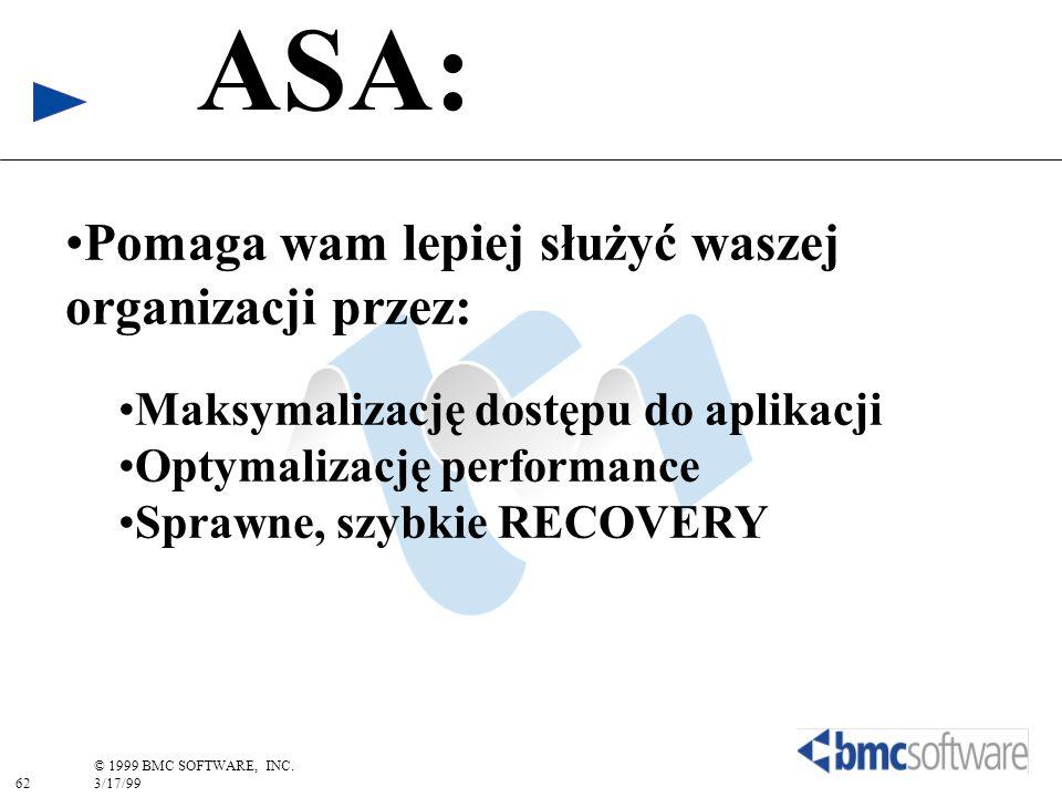 62 © 1999 BMC SOFTWARE, INC. 3/17/99 ASA: Pomaga wam lepiej służyć waszej organizacji przez: Maksymalizację dostępu do aplikacji Optymalizację perform