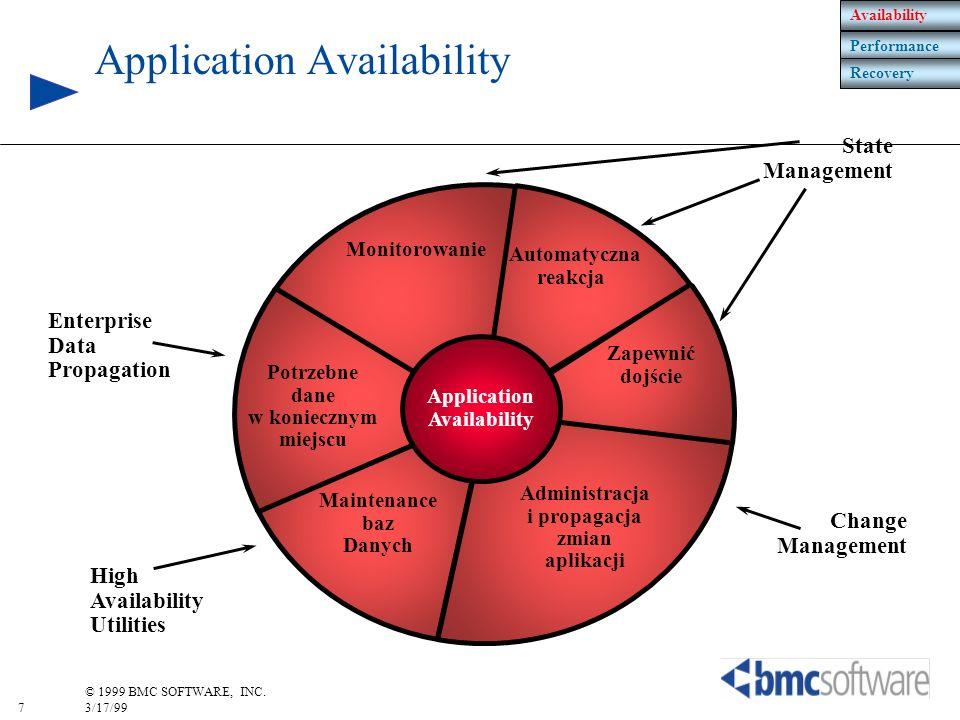 7 © 1999 BMC SOFTWARE, INC. 3/17/99 Potrzebne dane w koniecznym miejscu Maintenance baz Danych Administracja i propagacja zmian aplikacji Zapewnić doj