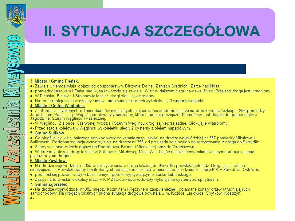 II. SYTUACJA SZCZEGÓŁOWA 3. Miasto i Gmina Pieńsk. - Zawieje uniemożliwiają dojazd do gospodarstw w Dłużynie Dolnej, Żarkach Średnich i Żarce nad Nysą