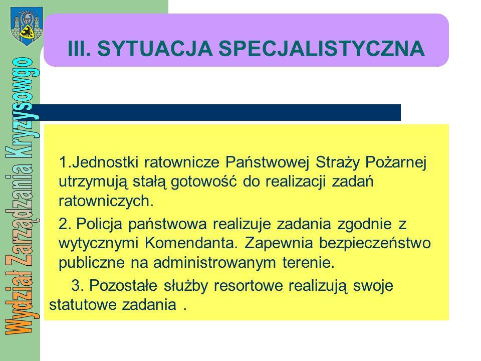 III. SYTUACJA SPECJALISTYCZNA 1.Jednostki ratownicze Państwowej Straży Pożarnej utrzymują stałą gotowość do realizacji zadań ratowniczych. 2. Policja