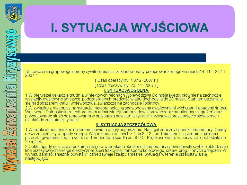 I. SYTUACJA WYJŚCIOWA Do ćwiczenia grupowego obrony cywilnej miasta i zakładów pracy przeprowadzonego w dniach 14. 11 – 23.11. 2007 r. [ Czas operacyj
