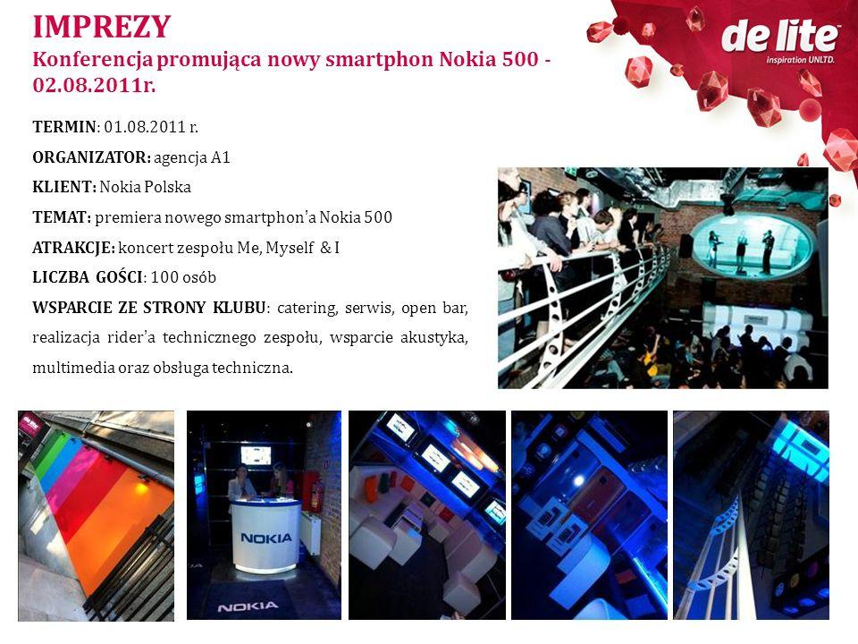 IMPREZY Konferencja promująca nowy smartphon Nokia 500 - 02.08.2011r. TERMIN: 01.08.2011 r. ORGANIZATOR: agencja A1 KLIENT: Nokia Polska TEMAT: premie