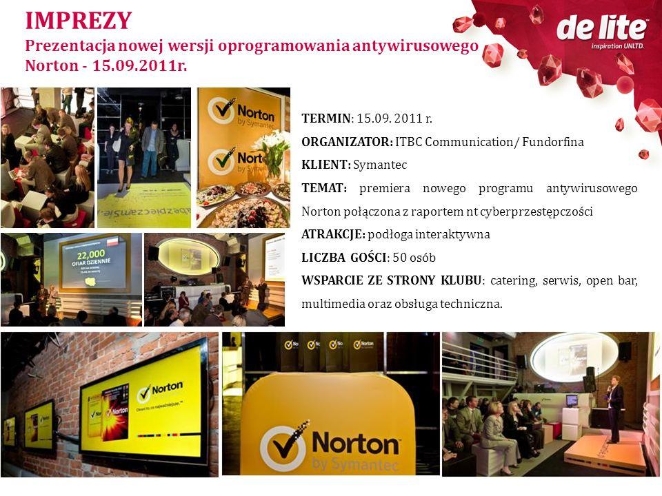 IMPREZY Prezentacja nowej wersji oprogramowania antywirusowego Norton - 15.09.2011r. TERMIN: 15.09. 2011 r. ORGANIZATOR: ITBC Communication/ Fundorfin