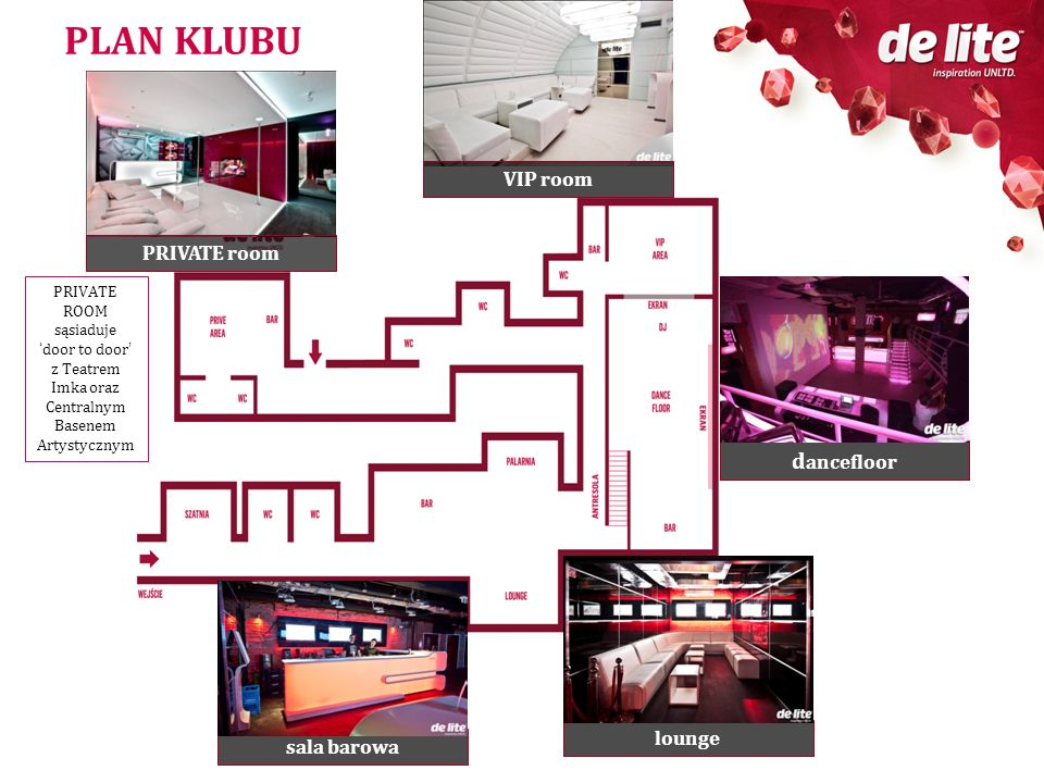 PLAN KLUBU sala barowa lounge d ancefloor PRIVATE ROOM sąsiadujedoor to door z Teatrem Imka oraz Centralnym Basenem Artystycznym VIP room PRIVATE room
