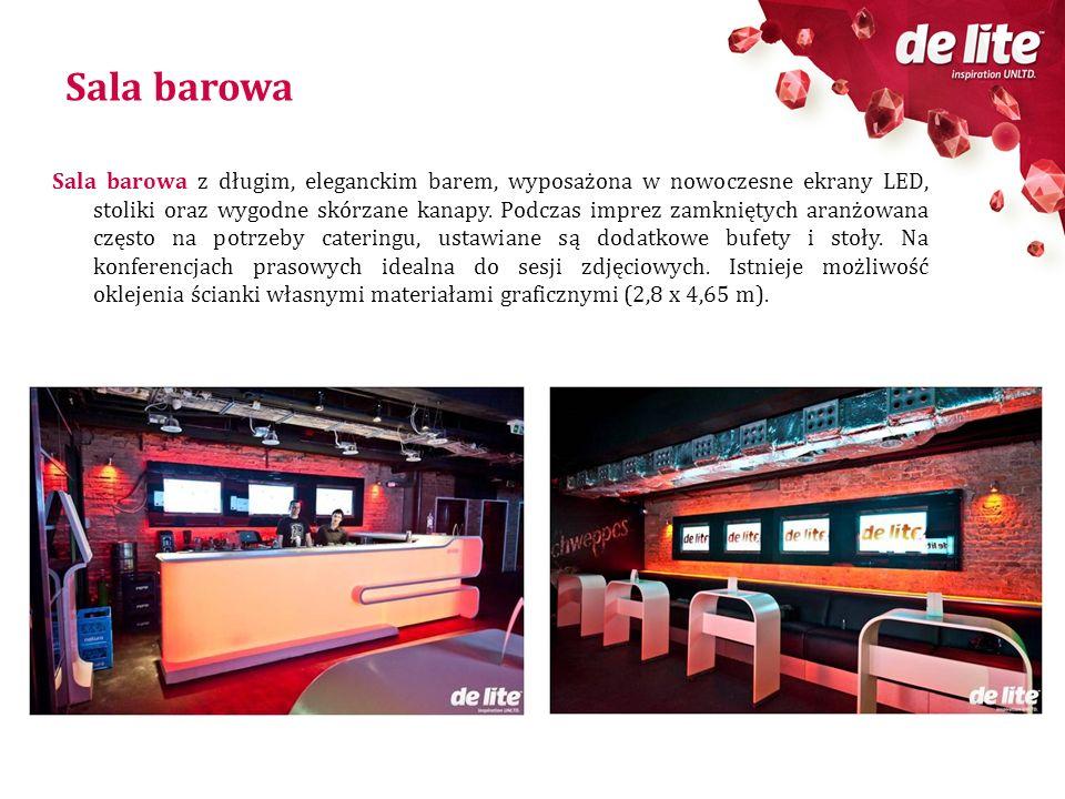 Sala barowa Sala barowa z długim, eleganckim barem, wyposażona w nowoczesne ekrany LED, stoliki oraz wygodne skórzane kanapy. Podczas imprez zamknięty