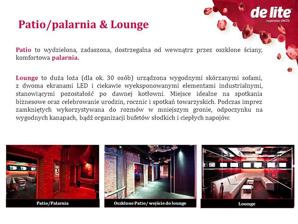 Patio/palarnia & Lounge Patio to wydzielona, zadaszona, dostrzegalna od wewnątrz przez oszklone ściany, komfortowa palarnia. Lounge to duża loża (dla
