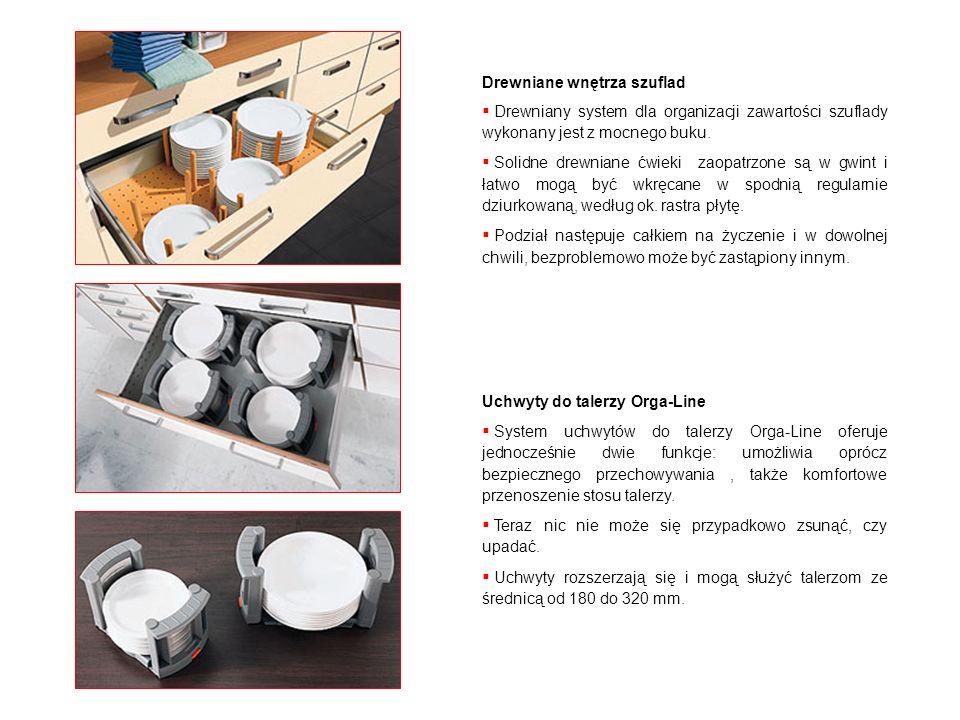 Drewniane wnętrza szuflad Drewniany system dla organizacji zawartości szuflady wykonany jest z mocnego buku. Solidne drewniane ćwieki zaopatrzone są w